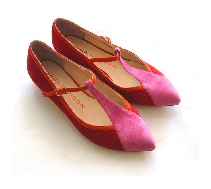 Sacha London Coreen Flats: Red And Pink, Coreen Flats, Color Combos, London Coreen, London Flats, Flats Shoes, Sacha London, Orange Pink, Art Shoes