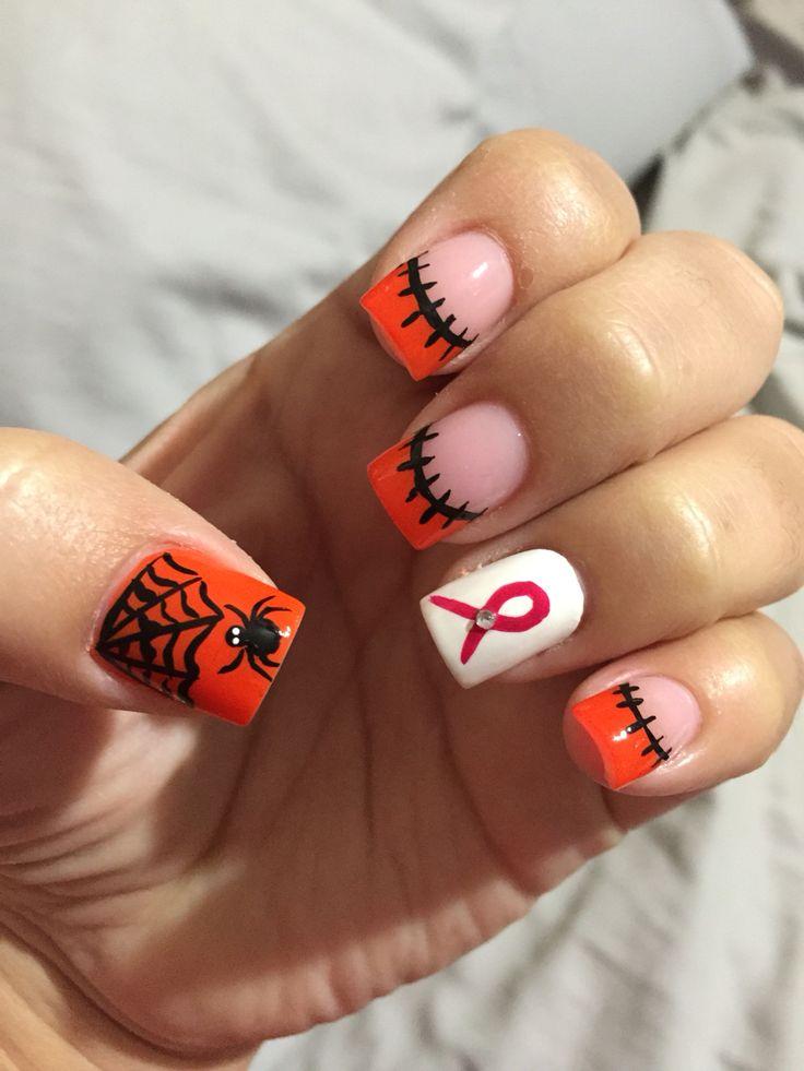 halloween nail art orange black