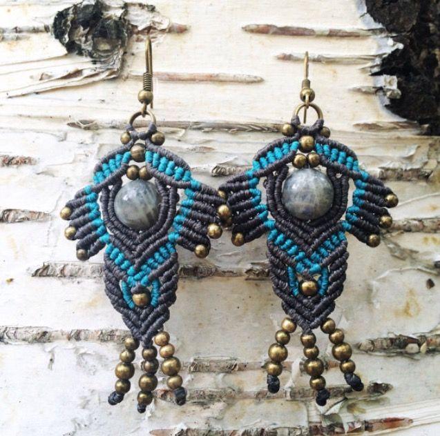 earrings boho jewelry macrame stone labradorite
