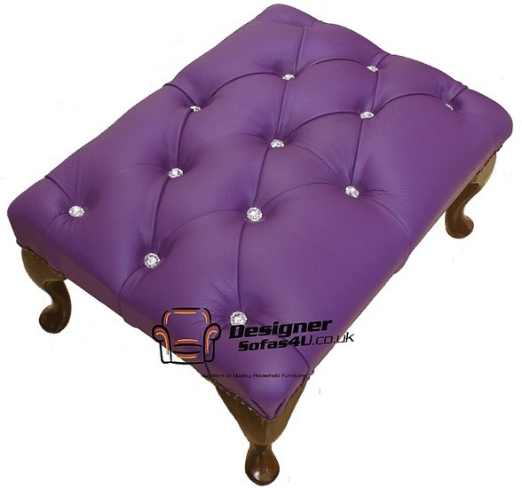 Chesterfield Swarovski Queen Anne Footstool UK Maufactured Purple Wineberry, Leather Sofas, Traditional Sofas