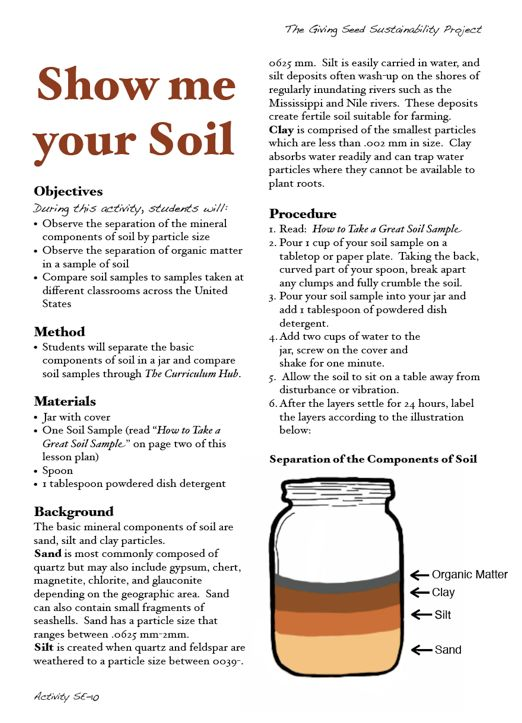 Show me your soil fun lab anyone can do have kids bring for Soil and plant lab