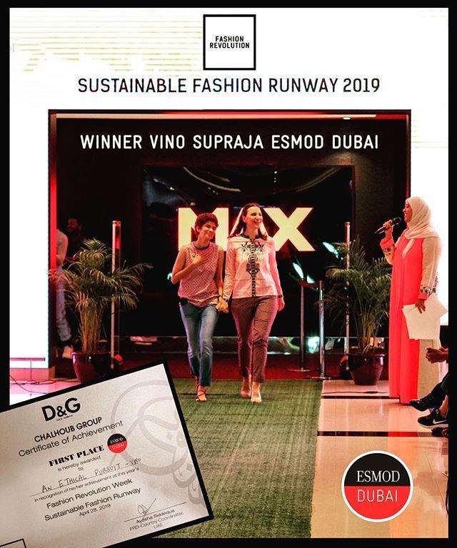 Vino Supraja Esmod Dubai Student Wins 1st Prize Of Sustainable Fashion Competition Uae Held By Fashionrevolution Sustainable Fashion Fashion Competition Dubai