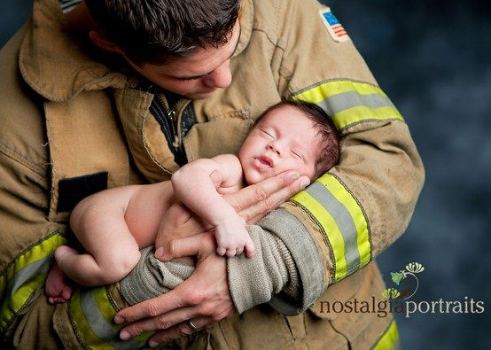 firefighter newborn firefighter newborn firefighter newborn  @jenny Seiler Maybe we could do this pose for Aida.