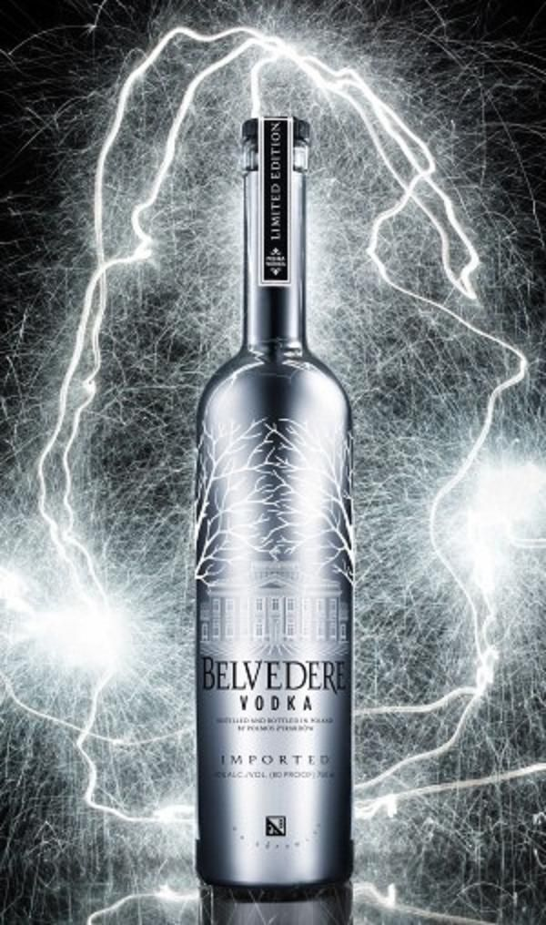 Belvedere vodka. Metallized view of the bottle, thanks to newest technology. Beautiful, simple bottle decoration