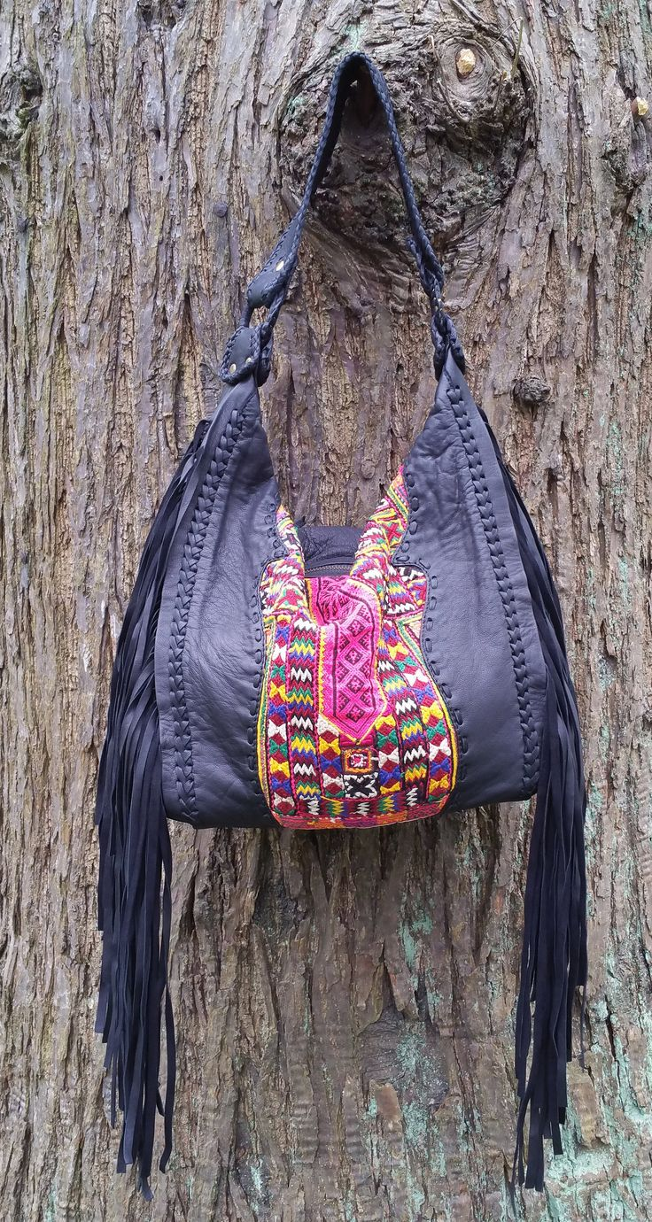Leather Fringed Hobo, Bohemian Fringed Shoulder Bag, Soft Buttery Leather Gypsy Bag by KavanaEmporium on Etsy