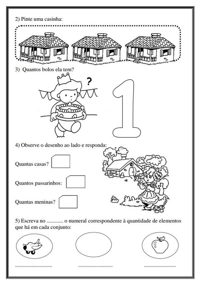 Atividades De Matematica Para Trabalhar O Numero 1 Educacao