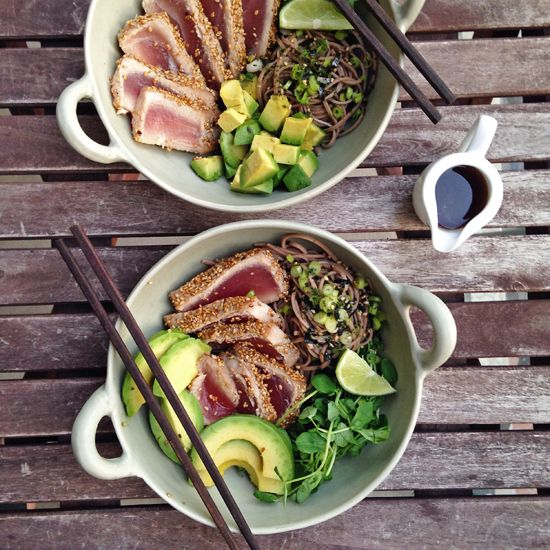 Sesame Crusted Tuna and Soba Noodle Bowls; add cucumber, radishes, edamame and this dressing: http://www.foodnetwork.com/recipes/guy-fieri/miso-noodles-with-seared-ahi-tuna-recipe.html