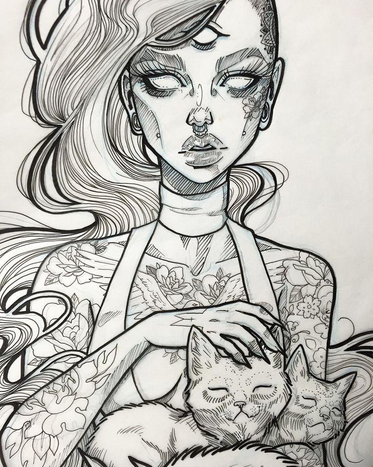 The Cat Lady-I like this style, minus the Third Eye   tatuajes | Spanish tatuajes  |tatuajes para mujeres | tatuajes para hombres  | diseños de tatuajes http://amzn.to/28PQlav