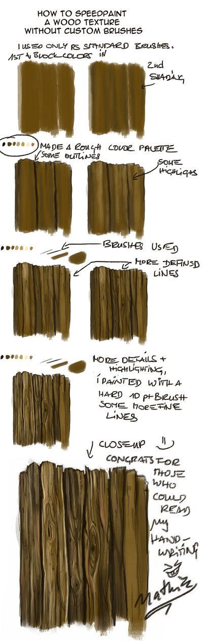 Quick Woodtexture Walkthrough by nathie although a painting technique it would work just as well when creating the wood look in miniatures: