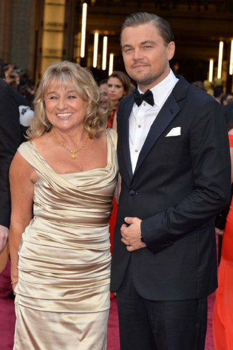 Leonardo DiCaprio with his mom on the red carpet at the 86th Academy Awards - 2014.