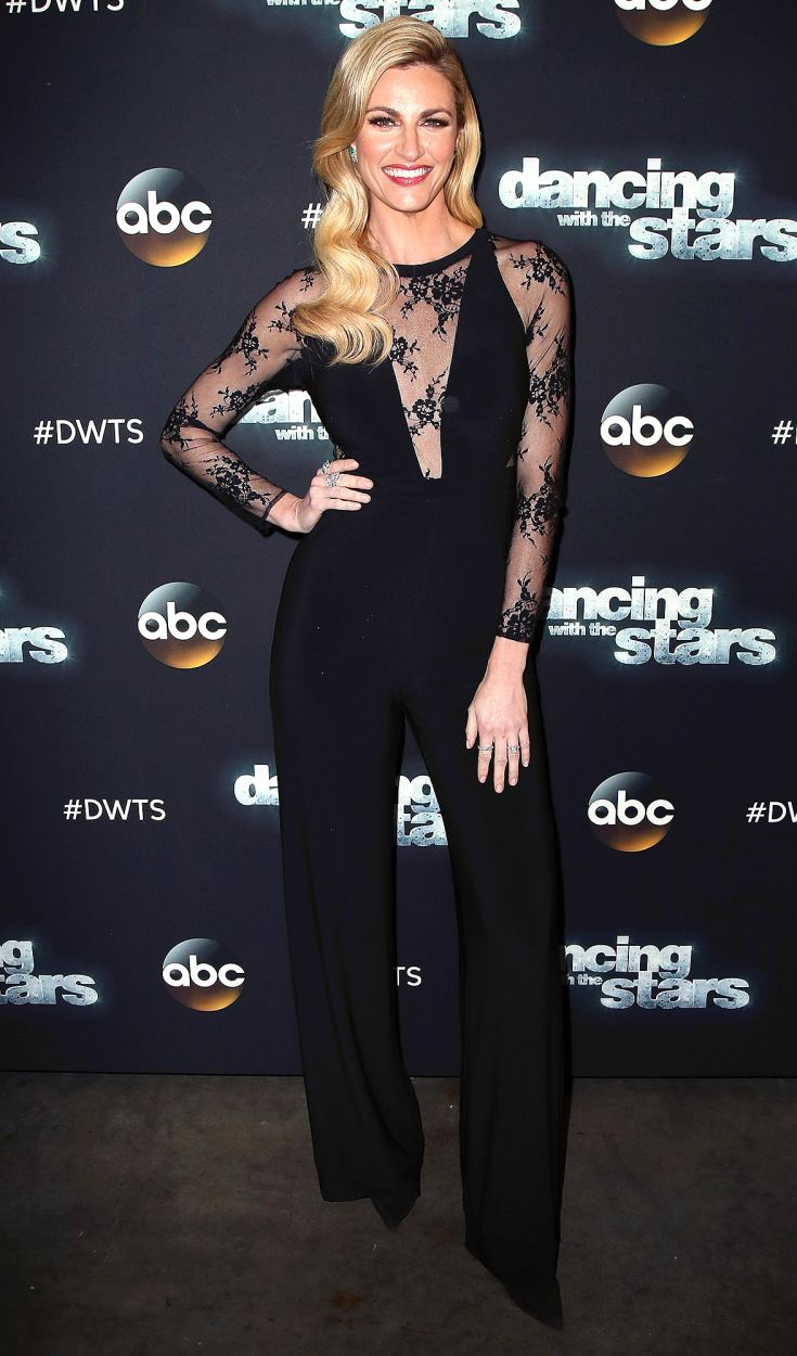 ERIN ANDREWS - wears a plunging black Jovani jumpsuit with lace, sheer sleeves and bodice at an episode of Dancing with the Stars in L.A (Be sure to check out her getting-ready style diary here!)