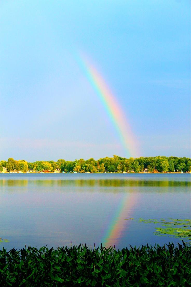 Rainbow over Pretty Lake. Indiana | RAINBOWS | Pinterest ...