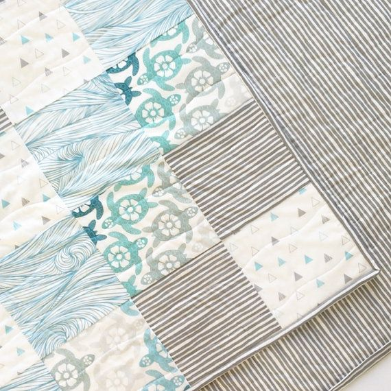 Sea Turtle Crib Quilt Sea Turtle Baby Bedding Toddler by madlywish