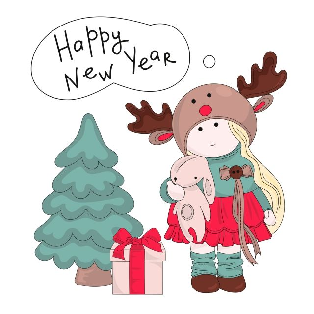 2009 happy new year fawn red new year background clock color fireworks beauty decoration wallpaper poster painting clip art illustrations