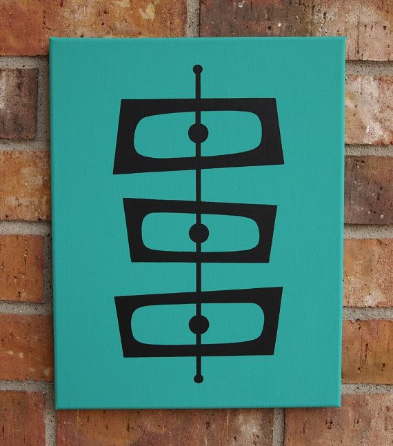 Mid Century Modern 11 X 14 Original Acrylic Painting by donnamibus