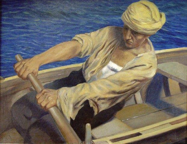 Feliks Michał Wygrzywalski: Wilk morski; olej, płótno, 63 x 79 cm;