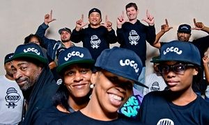 Roy Choi and Daniel Patterson (back row, centre) with the team from LocoL.