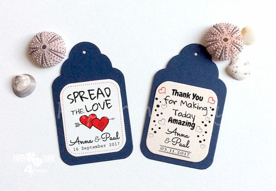 24 Spread The Love Wedding Personalized Tag _ by PaperMark4You