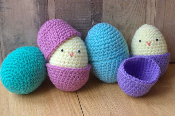Amigurumi Easter egg and chick pattern on Etsy. Cute!