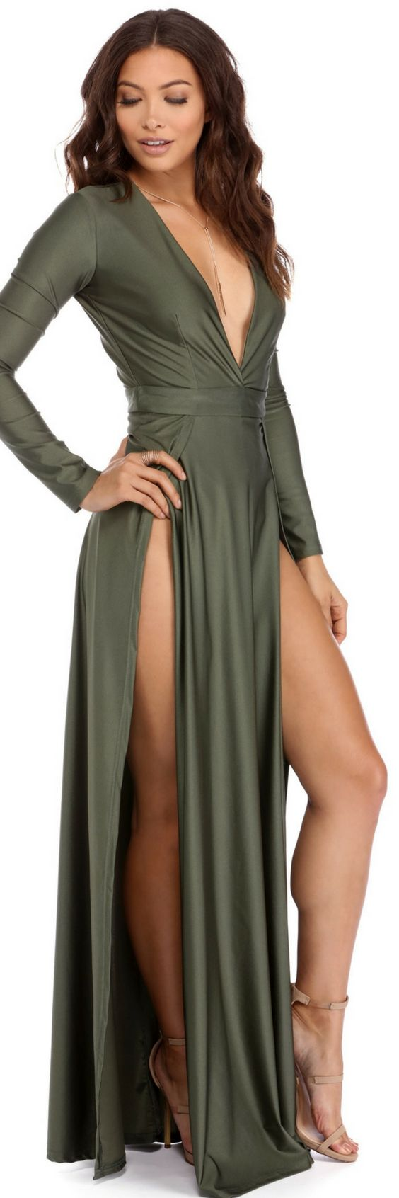Windsorstore DESIREE OLIVE DOUBLE SLIT DRESS