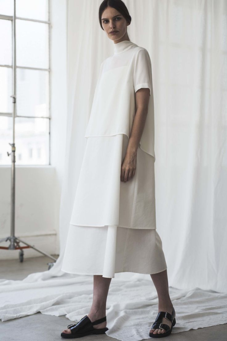 Contemporary Fashion - layered white dress; minimalist style // Shaina Mote Spring 2017