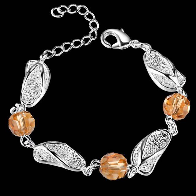 Летние подарки! Aaa 925 серебряный браслет для свадьбы шампанское кристаллы серебряный браслет изящных женских…