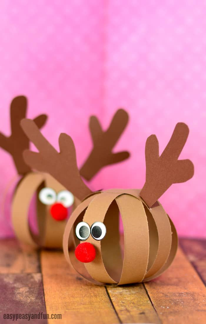 Paper Ball Reindeer Christmas Craft for Kids