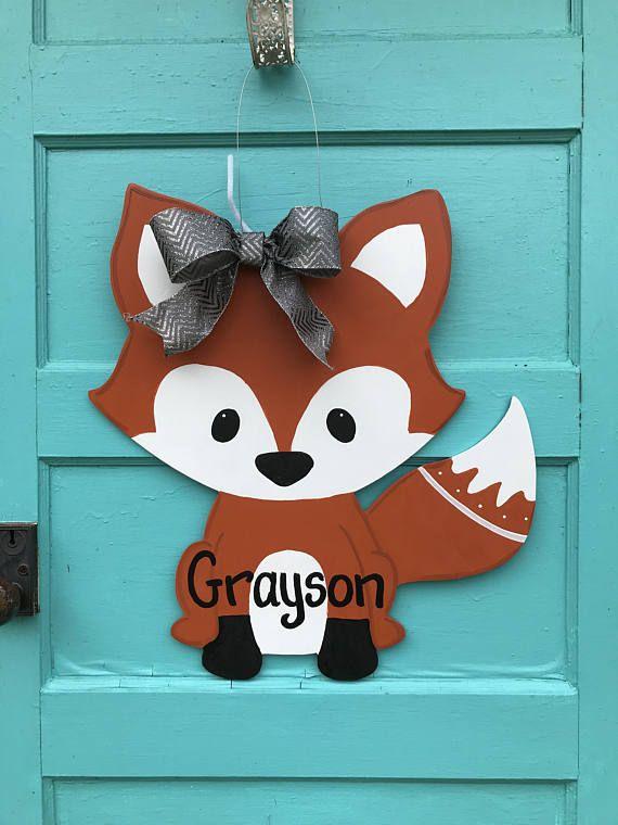 fox door hanger,Personalized baby wreath,birth announcement door ...