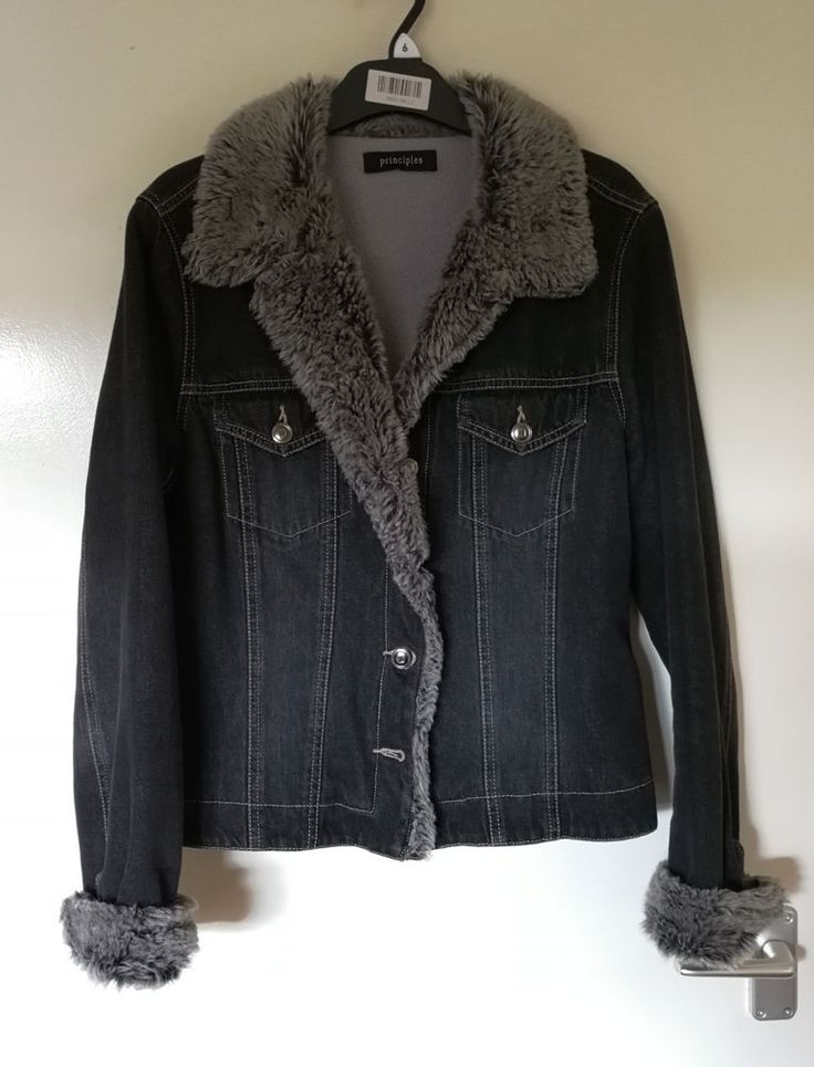 Debenhams Principles Black Faux Fur Fleece Layered Denim Jeans Jacket 14 #Principles #DenimJacket