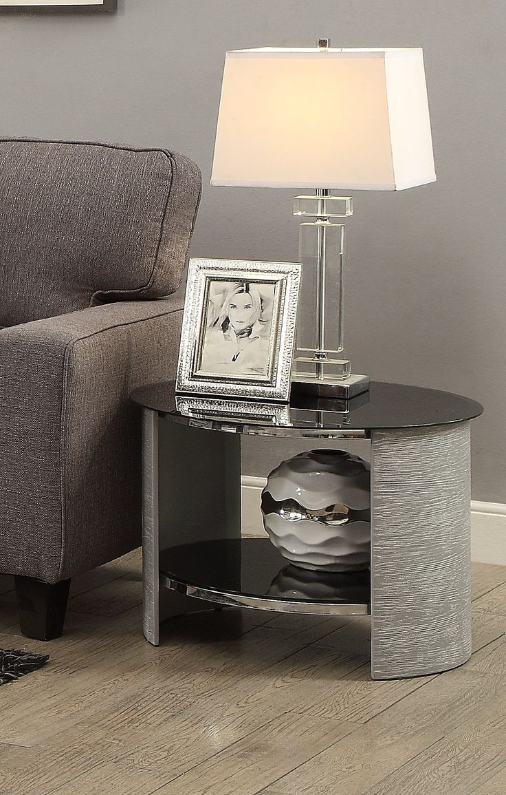 Jual Furnishings JF303 Round Lamp / Side Table - Grey Ash This wonderful lamp table combines natural wood veneer and modern 'Piano Black' glass.  The JF303 blends contemporary style with practicality, offering open storage for everyday items. Designed to match the popular JF301 Coffee Table.