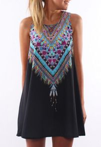 Tribal Print Tradition Shift Black Dress