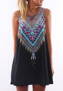 Tribal Print Chiffon Shift Black Dress