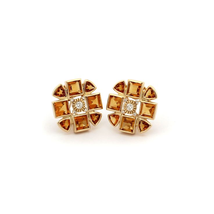 THE SACRED FLOWER EARRINGS  The earrings are made from 18kt yellow gold diamonds and citrine.  Citrine is a beautiful honey coloured golden gemstone that complements all skin tones. The 18kt gold compliments citrine beautifully.
