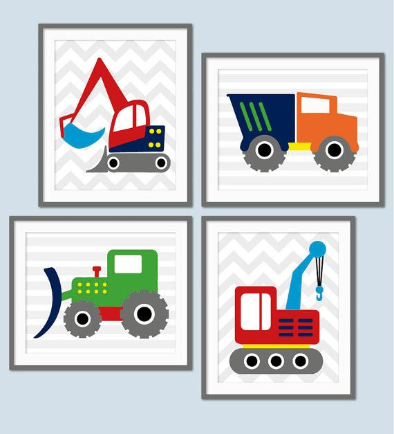 Boys Construction Nursery Digger Truck by StrawberryJamStudio