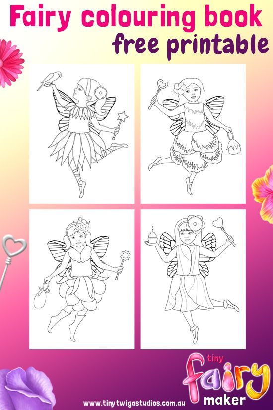 Tiny Fairy Maker FREE Mini Colouring Book Printable Make Your Own Beautiful Fairies And