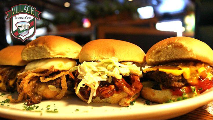 Sliders-Burger, BBQ Beef, Pot Roast & Swedish Meatball.  #villagetavern #comfortfood #carolstream #sliders