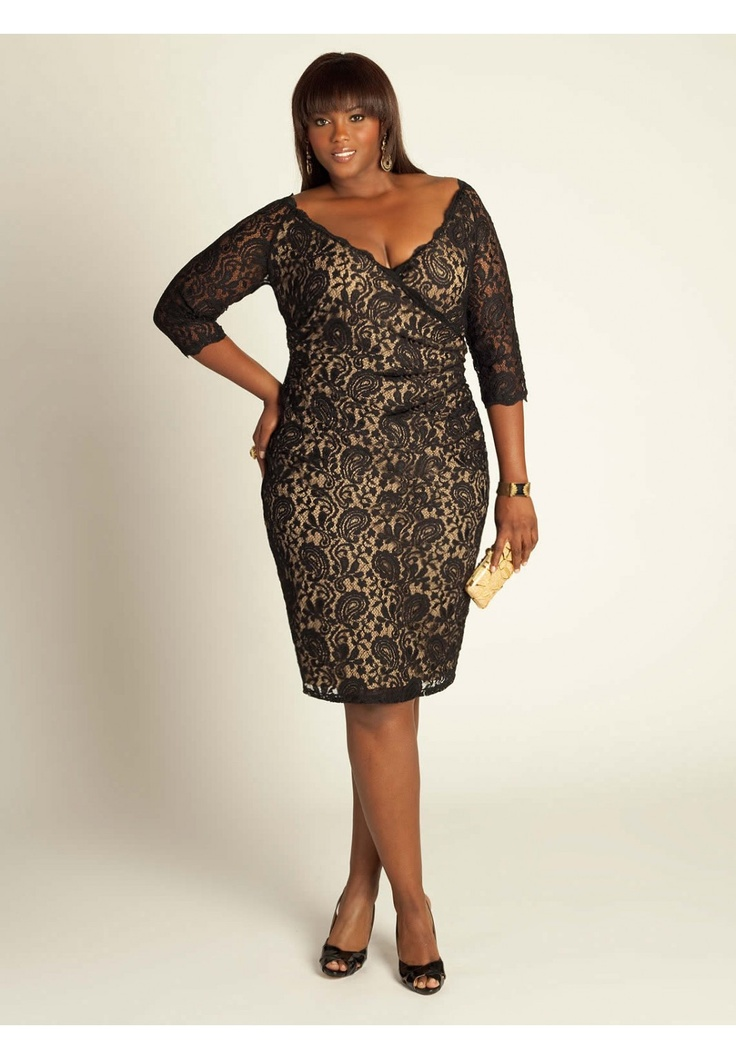 Plus Size Justine Lace Dress in Black/Nude image