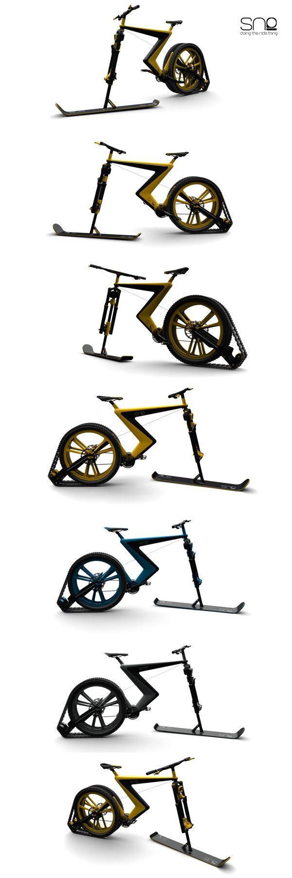 Bicicletas y carámbanos, Sno es una bicicleta conceptual que aporta una innegable sensación de estilo y aire fresco a las bicicletas de nieve existentes.  Sno_Venn_2