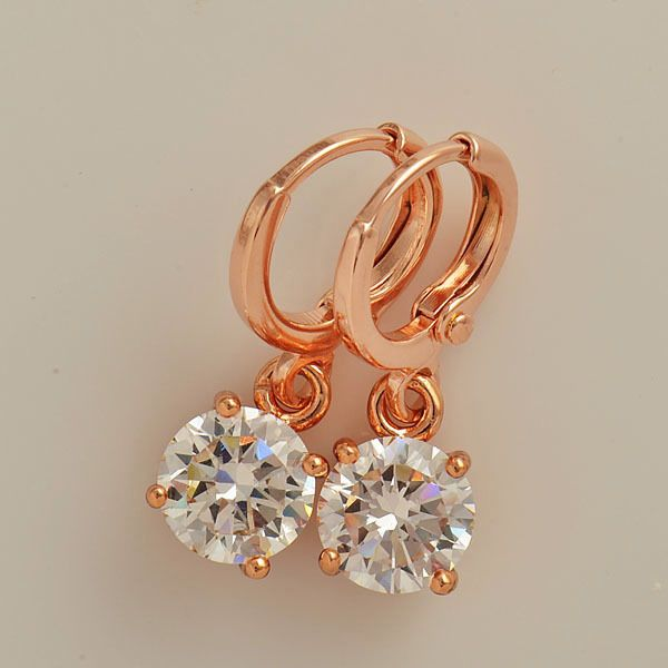 9K Rose gold-filled CZ dangle hoop earrings, 23mm x 7mm @ AUD$12 + postage or local pick up available.