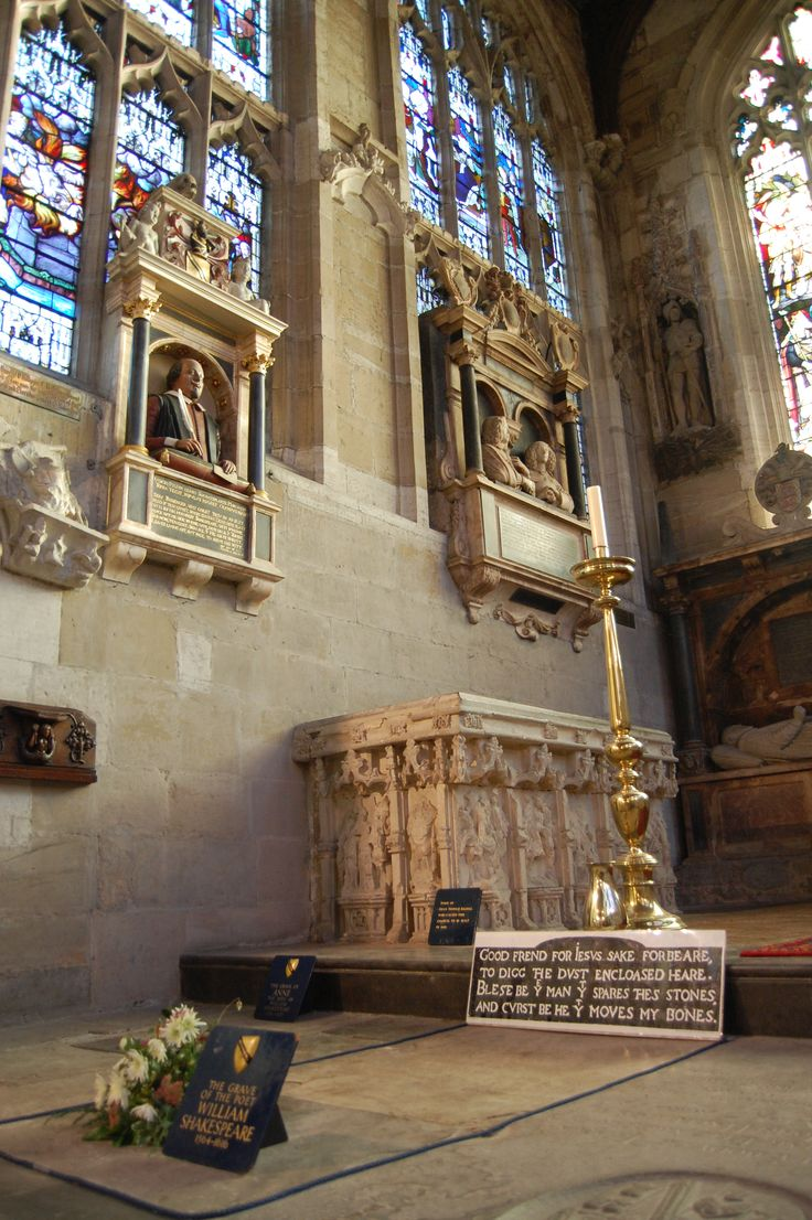 """Shakespeare's grave - Holy Trinity Church, Stratford-upon-Avon.  His epitaph reads: """"Good Friends, for Jesus' sake forbear, To dig the bones enclosed here! Blest be the man that spares these stones, And curst be he that moves my bones."""""""