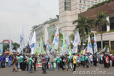 Jakarta, Indonesia, 22 November 2012, thousands of workers marched in Jakarta for living wage.
