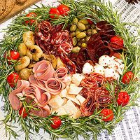Xmas Antipasti platter make it a Santi-pasti platter with a red Santa hat at the top