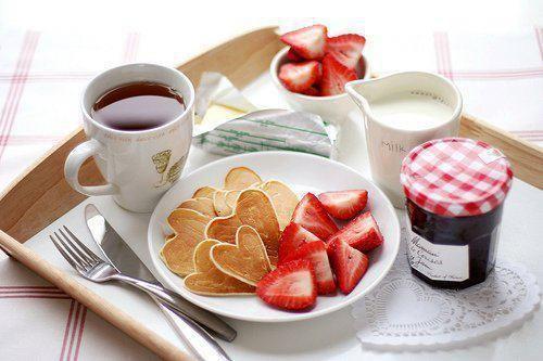 pancakes strawberries & tea  breakbast <3