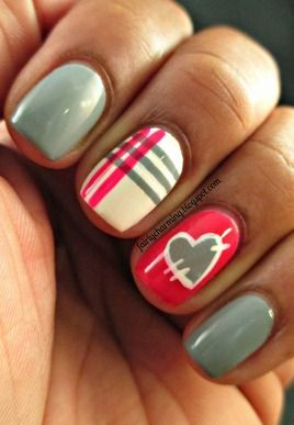 Pink and grey double accent nails - plaid and heart #nailart by Stefanie Deming.