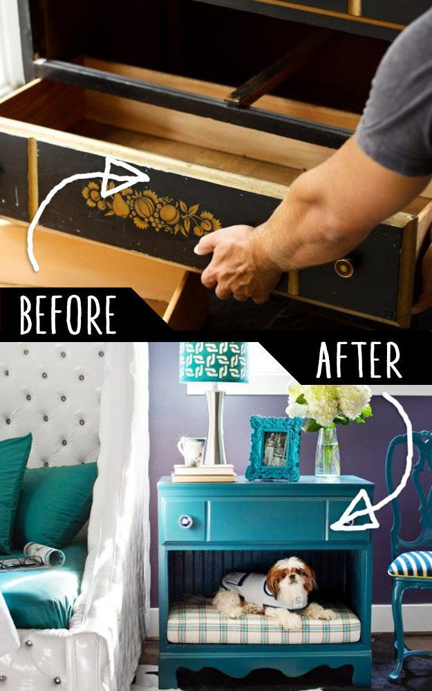 DIY Furniture Hacks |  Dresser Into a Pet Bed and Nightstand  | Cool Ideas for Creative Do It Yourself Furniture Made From Things You Might Not Expect - http://diyjoy.com/diy-furniture-hacks