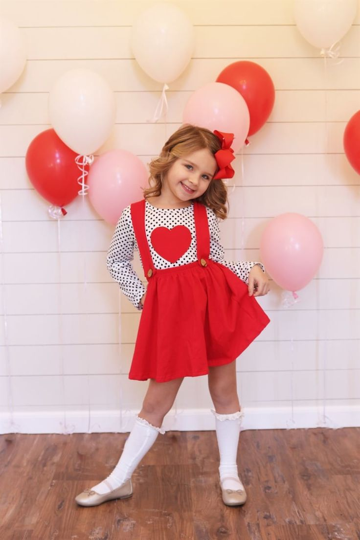 US Baby Girls Toddler Valentine's Day Heart Tops Bib Skirt Outfit Clothes 6M-5Y