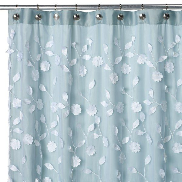 Floret Blue 70' W x 72' L Fabric Shower Curtain - Bed Bath & Beyond...shopping around for my bathroom and liking this!