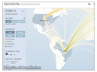 Veja ataques em tempo real do tipo DDOS com o Digital Attack Map  O Digital Attack Map mostra o tráfego de dados relacionados a ataques do tipo DDoS em tempo real.  A Arbor Networks Inc. uma divisão segurança da NETSCOUT em conjunto com a Jigsaw empresa integrante da Alphabet controladora do Google anuncia uma nova versão aprimorada do Mapa de Ataques Digitais que oferece uma visualização on-line dos ataques de negação de serviço (DDoS  Distributed Denial of Service) em todo o mundo. Além da…