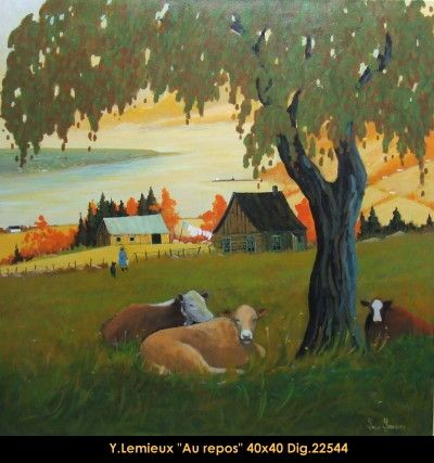 Original oil painting on canevas by Yvon Lemieux #yvonlemieux #art #artist #canadianartist #quebecartist #originalpainting #fineart #figurativeart #oilpainting #landscape #cows #oilpainting #balcondart #multiartltee