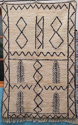 Beni Ourain Moroccan Rug Carpet Berber - Scroll Design - Natural Colors - 5'x8'